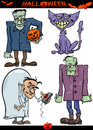Halloween cartoon creepy themes set illustration of holiday like evil scientist or zombie or frankenstein Stock Image