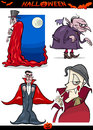 Halloween cartoon horror themes set illustration of holiday like vampire or count dracula Stock Photo