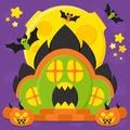Halloween Cartoon House. Vecto...