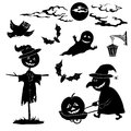 Halloween cartoon set black silhouette on white background witch and pumpkin in trolley ghost owl bat scarecrow lantern moon and Stock Photography