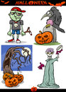 Halloween cartoon spooky themes set illustration of holiday like pumpkins or zombie and skeleton or graves Royalty Free Stock Photo