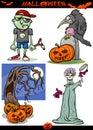Halloween Cartoon Spooky Themes Set Royalty Free Stock Photo