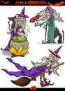 Halloween cartoon spooky themes set illustration of holiday like witch on broom or black cat Royalty Free Stock Images