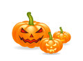 Halloween cartoon, symbols composition. vector objects arrangement with pumpkins Royalty Free Stock Photo