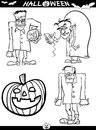 Halloween cartoon themes for coloring book illustration of black and white set or page Stock Photography