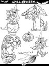 Halloween cartoon themes for coloring book illustration of black and white set or page Stock Image