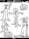 Halloween cartoon themes for coloring book illustration of black and white set or page Royalty Free Stock Image