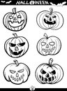Halloween cartoon themes for coloring book illustration of black and white set or page Stock Photo