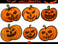Halloween cartoon themes set illustration of pumpkins holiday Royalty Free Stock Photos