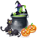 Halloween cartoon witch scene with a her black cats happy cauldron and pumpkins Stock Images