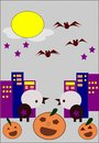 Halloween cartoons celebrating in city at night Royalty Free Stock Image