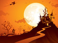 Halloween castle spooky scene with wide copy space Stock Photography
