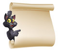 Halloween cat scroll an illustration of a cute cartoon peeping round a sign and showing what is written on it Royalty Free Stock Image