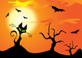 Halloween cat, trees and bats. Stock Photo