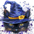 Halloween cat witch . Watercolor illustration background Royalty Free Stock Photo