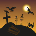 Halloween cemetery illustration of the night with the moon in the of the birds and skeletons Royalty Free Stock Photos