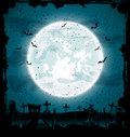 Halloween cemetery night background full moon in the dark sky illustration Royalty Free Stock Photos