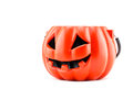 Halloween with ceramic pumpkin on white background Royalty Free Stock Photography