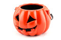 Halloween with ceramic pumpkin on white background Stock Photography