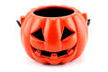 Halloween with ceramic pumpkin on white background Royalty Free Stock Photos
