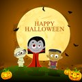 Halloween character easy to edit vector illustration of ghost standing in night Royalty Free Stock Images