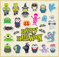 Halloween character set cute cartoons vector design collection Stock Photography
