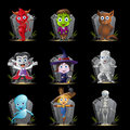 Halloween Character and Tombstone Set Stock Images