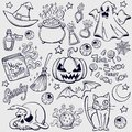 Halloween characters and attributes doodle set