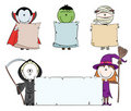 Halloween characters with empty banner Royalty Free Stock Photography