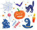 Halloween characters and objects Royalty Free Stock Photo