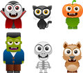 Halloween characters set vector illustration of separate layers for easy editing Royalty Free Stock Photos