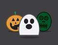 Halloween characters three ghost pumpkin and zombie Stock Image