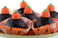 Halloween chocolate cupcakes Royalty Free Stock Photography