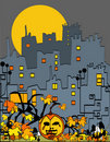 Halloween city with pumpkin Royalty Free Stock Image