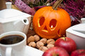 Halloween coffee composition theme with autumn elements arranged on a table Stock Photo