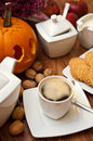 Halloween coffee composition theme with autumn elements arranged on a table Royalty Free Stock Photography