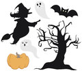Halloween collection vector illustrations of icons each illustration is in an isolated group Stock Photo