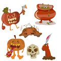 Halloween color funny set with pumpkin hand skull and copper Royalty Free Stock Photos