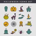 Halloween colored icons. Vector set.