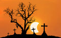 Halloween concept background with scary silhouette dead tree and spooky silhouette crosses with half moon Royalty Free Stock Photo