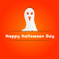 Halloween concept with ghost on orange wall background Royalty Free Stock Photography