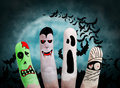 Halloween concept painted finger monsters zombie vampire mummy ghost Royalty Free Stock Photography