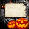 Halloween concept scary with wooden blank board Royalty Free Stock Images