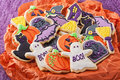Halloween cookies colorful for party Stock Photos