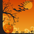 Halloween creepy scene with pumpkin and bats Royalty Free Stock Image