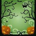 Halloween creepy scene with pumpkins and bats Stock Photography