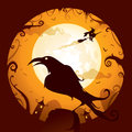 Halloween crow scene in night Stock Image