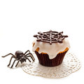 Halloween cupcake happy cupcakes decorated white cream and black chocolate Stock Images