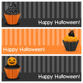 Halloween cupcake horizontal banners a collection of three happy with sweet cupcakes on orange and gray background eps file Royalty Free Stock Photo