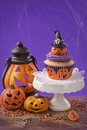 Halloween cupcake and pumpkin decoration Royalty Free Stock Photography